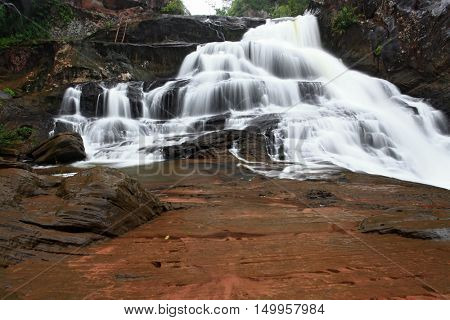 tropical rainforest waterfall in jungle of Thailand landscpae