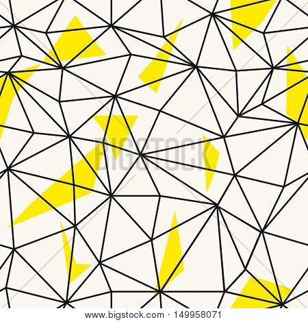 Low poly seamless repeat pattern. Triangular facets. Vector pattern.