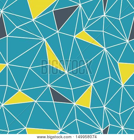 Low poly seamless repeat pattern. Triangular facets. Vector pattern. Wireframe Background Blue and Yellow Seamless Pattern.