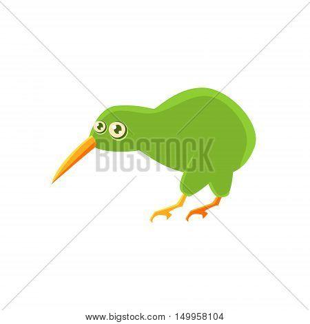 Kiwi Bird Toy Exotic Animal Drawing. Silly Childish Illustration Isolated On White Background. Funny Animal Colorful Vector Sticker.
