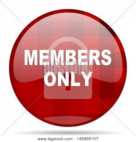 members only red round glossy modern design web icon