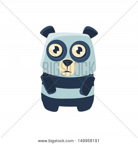 Panda Bear Toy Exotic Animal Drawing. Silly Childish Illustration Isolated On White Background. Funny Animal Colorful Vector Sticker.