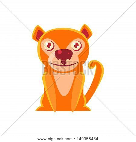 Monkey Toy Exotic Animal Drawing. Silly Childish Illustration Isolated On White Background. Funny Animal Colorful Vector Sticker.