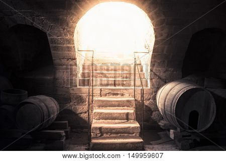 Wine cellar stone stairs leading up towards bright light - Bright beam of light coming down through the entrance of a vintage wine cellar enlightening the stone stairs and the old wooden barrels.
