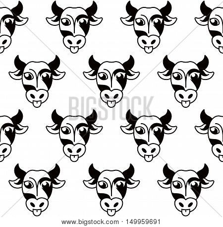 Isolated abstract black and white cow muzzle logo.