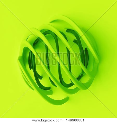 3D Rendering Abstract Background With Repeat Of Deformed Geometry Shapes. Center Oriented Compositio