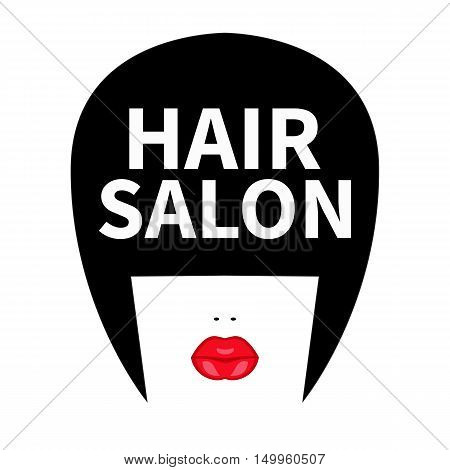 Icon for hairdresser. Vector flat logo for hair salon. Girl face with black bob long bangs and red lips. Fashion sticker label isolated.