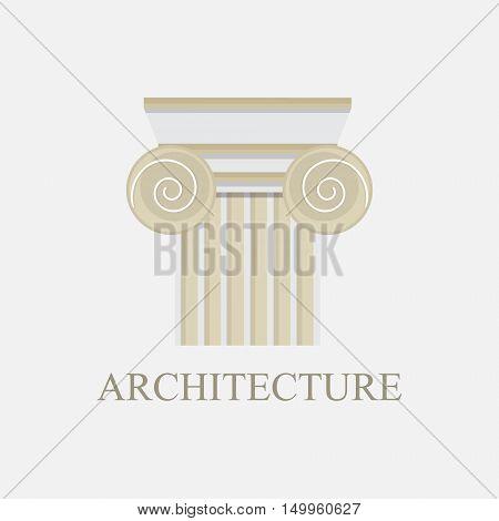 Column logo design template. Vector illustration column capitals classical Greek or Roman style architecture bureau logotype. Logo icon.