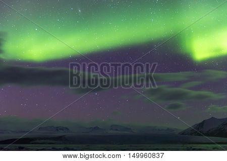 The Northern Light Aurora borealis at Jokulsarlon Glacier Lagoon Iceland