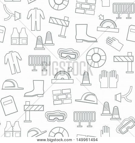 Occupational safety, seamless pattern, grey pattern, white background. Vector, contour drawings of workwear and safety items on a white background.