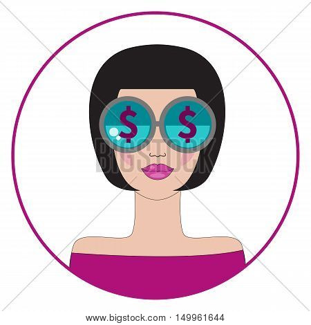Badge gold digger. Vector flat attractive woman with dollars in sunglasses isolated. Concept of greed sexy lady. Round label sticker patch glamorous girl.