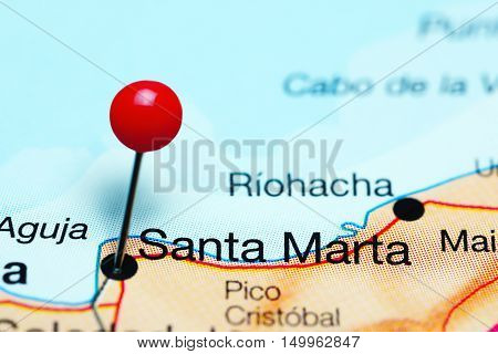 Santa Marta pinned on a map of Colombia