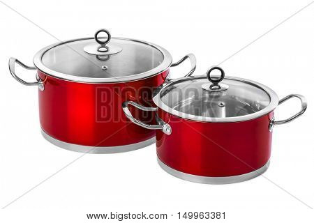 Red steel pans isolated on white background