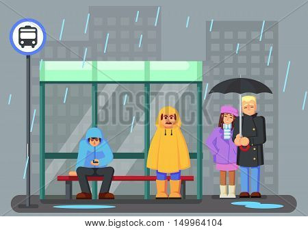 Cute Cartoon Characters with raincoat Umbrella Under the Rain and Waiting for the Bus. Vector Illustration eps10