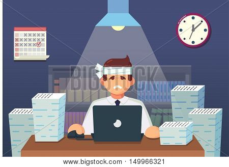 Funny Flat Cartoon Character. Tired Office Worker Sitting And Working All Night. Vector Illustration