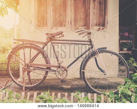 Vintage Bicycle Or Old Bicycle Vintage Park On Old Wall Home.