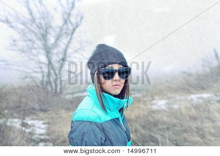 Beautiful Girl In Sunglasses And Winter