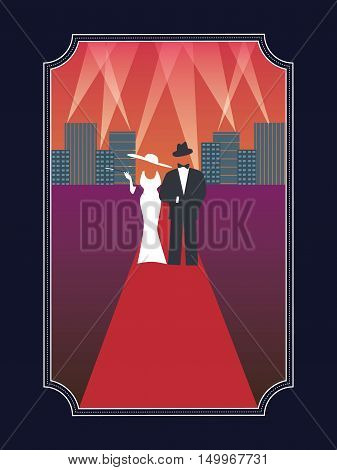Academy awards hollywood poster with stylish elegant dressed man and woman in simple retro style poster. Eps10 vector illustration.