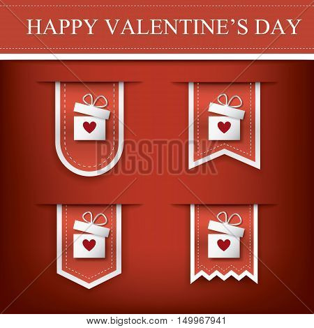 Valentine vertical ribbon or bookmark element for websites and promotion of holiday. Eps10 vector illustration