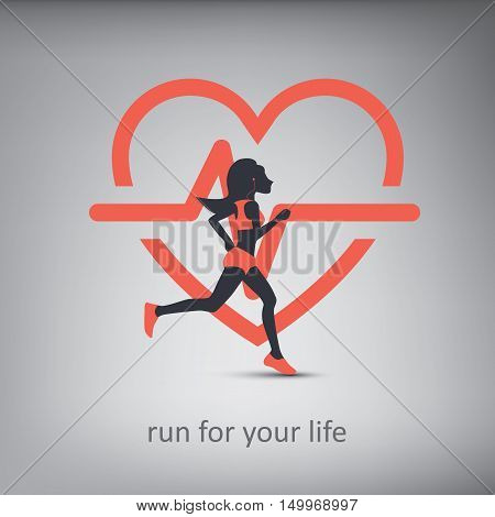 Running or jogging concept illustration with silhouette of a person with healthy lifestyle symbol in background. Cardio exercise. Eps10 vector illustration.