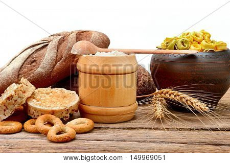 Food products made from wheat. Isolated on white.