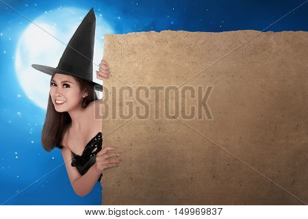 Charming Beautiful Asian Witch Woman Holding Blank Board Parchment