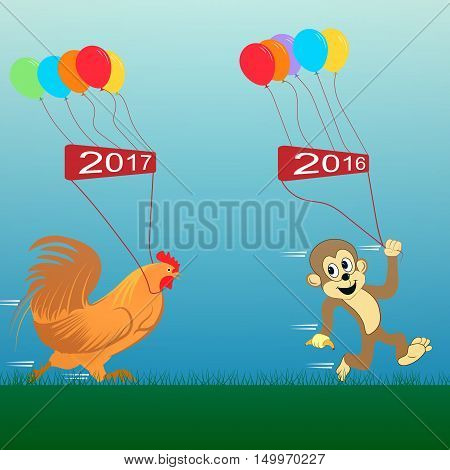 rooster and monkey. Vector illustration. new Year 2017