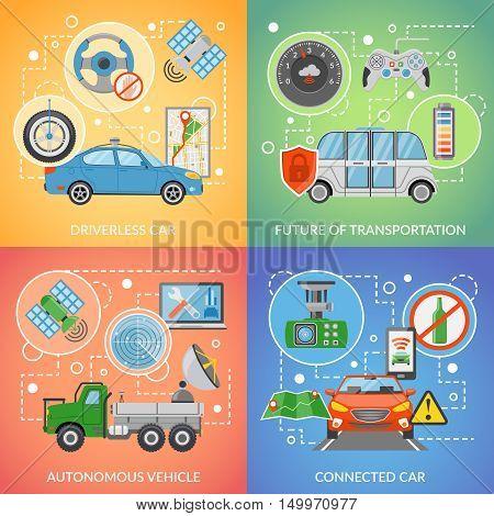 Flat design future of transportation driverless car autonomous vehicle isolated 2x2 icons set vector illustration
