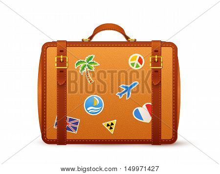 Orange leather vector suitcase with travelers stickers