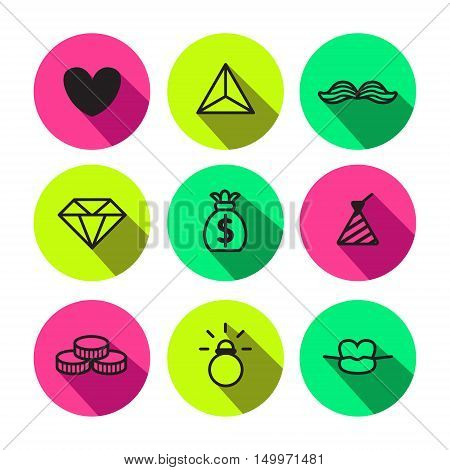 Rave punk luxury and glam different symbols vector icon set in black and neon colors