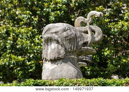 ROME, ITALY - JUNE 12, 2015: Ancient statue of elephant in baths of Diocletian (Thermae Diocletiani) in Rome. Italy