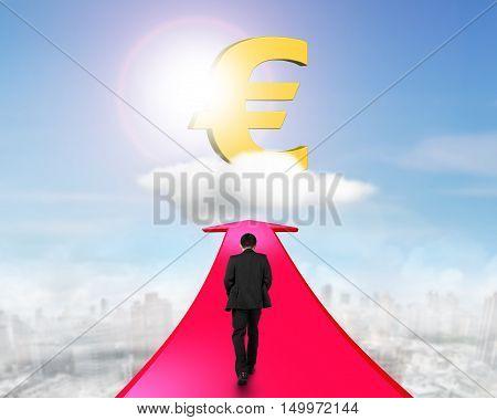 Businessman Walking On Arrow Going Toward Euro Symbol