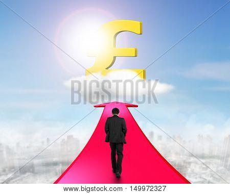 Businessman Walking On Arrow Going Toward Pound Symbol