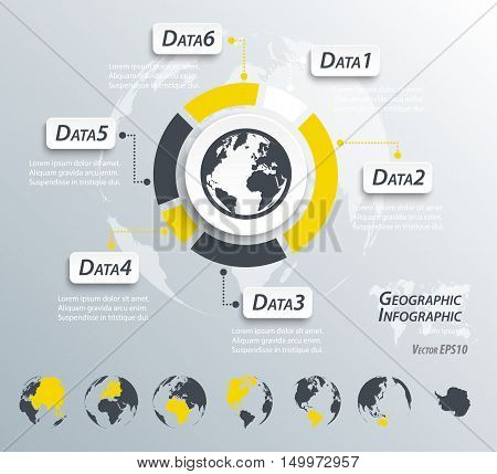 Geographic Infographics ( world and continent map )