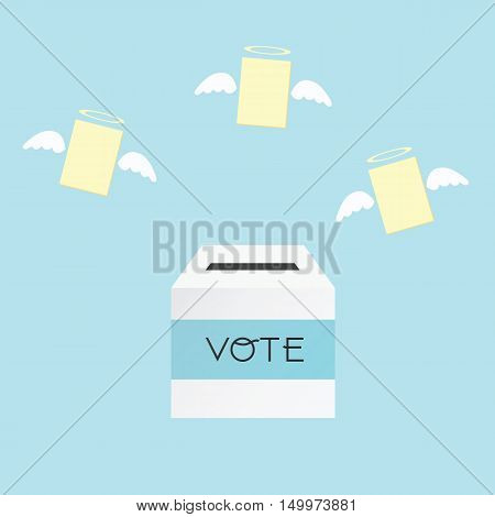 Voting Concept By The Ballot Box And Paper Angel .