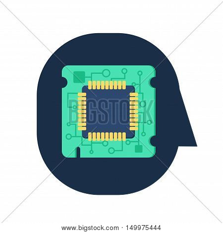Computer Processor Chip in human head. Symbol of programmer hard work system administrator activities scientific innovation technical advancements and robotics. Brain activities. Vector