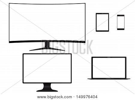 Set of electronic devices. Computer monitor laptop tablet smart phone isolated on white background. Vector illustration.