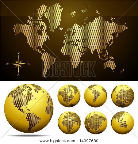 Vector Globe And Map Of The World - Gold