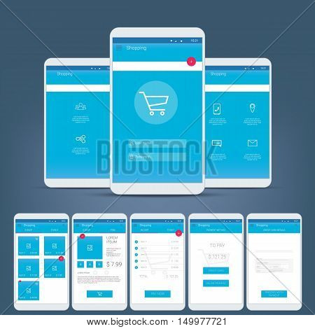 Flat design user interface for smart phone or mobile e-shop apps. Navigation menu with line icons and buttons. Various application screens. Eps10 vector illustration