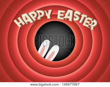 Happy Easter postcard background. Vintage retro classical movie screen. Adorable bunny ears hiding. Creative Typography. Eps10 vector illustration