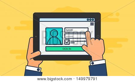 Web Template and Elements for site form of login to account on tablet. Vector