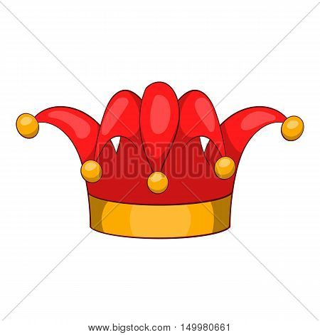 Jester hat icon in cartoon style isolated on white background vector illustration