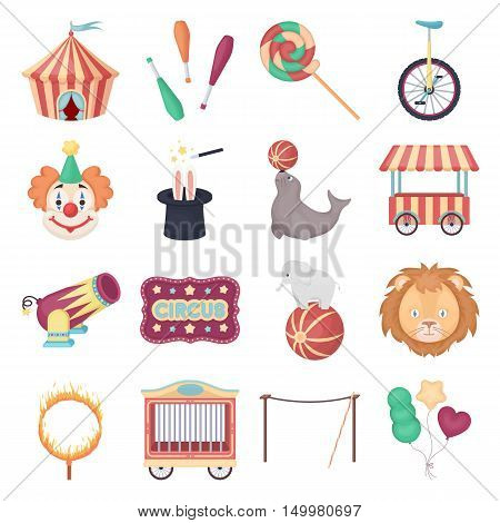 Circus set icons in cartoon style. Big collection of circus vector symbol.