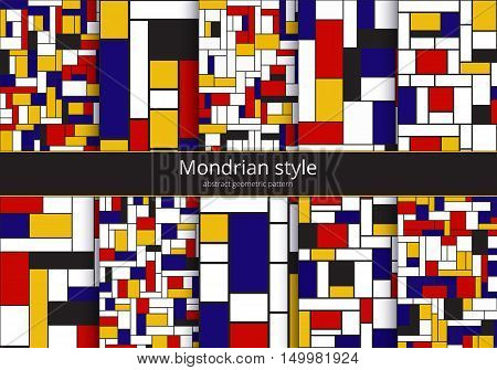 Set of graphic backgrounds. Mondrian pattern. Abstract geometric design of rectangles of red blue yellow white and black colors. Chaotic bauhaus art. Kit of bright vector illustration.