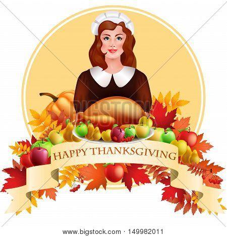 Illustration Of Thanksgiving Celebration Banner With Maple Leaf