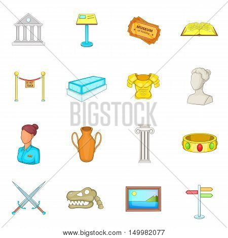 Museum icons set in cartoon style. Antique and culture symbols set collection vector illustration