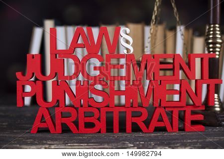 Mallet, Law, legal code and scales of justice concept