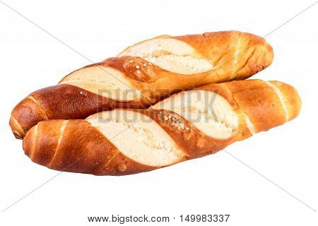 buns rolls lye rolls typical german bread isolated on white