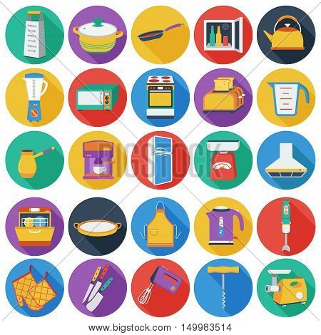 Kitchen set icons in flat style. Big collection of kitchen vector symbol.