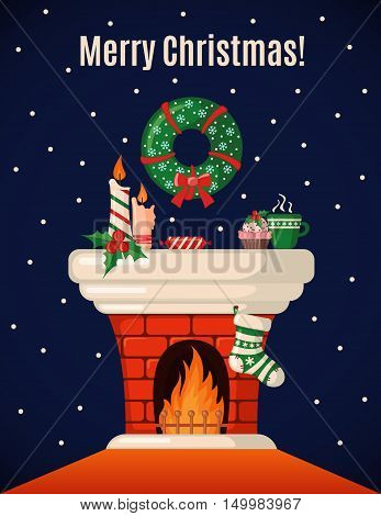 Christmas Card with fireplace and Christmas sock in flat style. Vector illustration.
